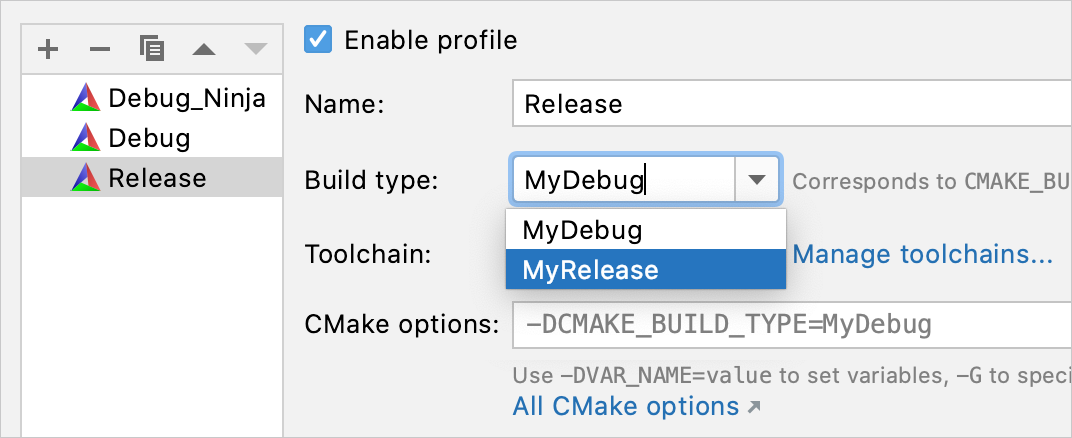 custom build types for new cmake profile