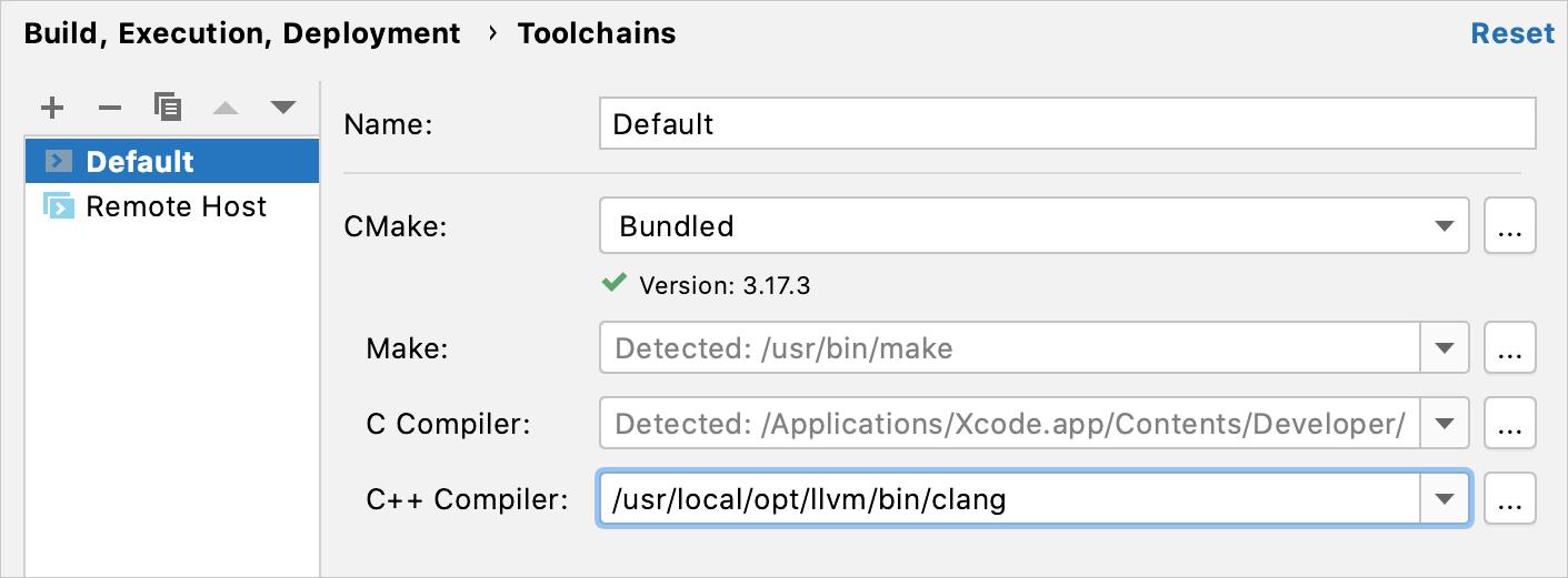 Set the compiler via toolchain