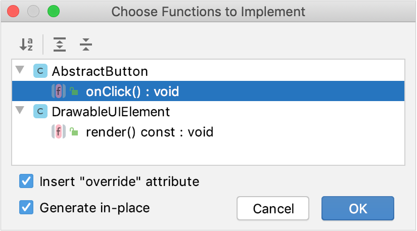 Selecting functions to implement