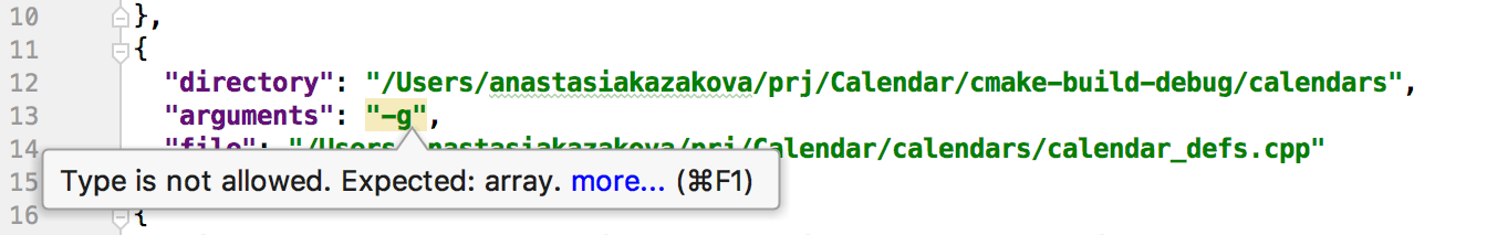 validation of compilation database file