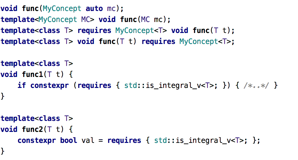 Supported syntax forms for Concepts