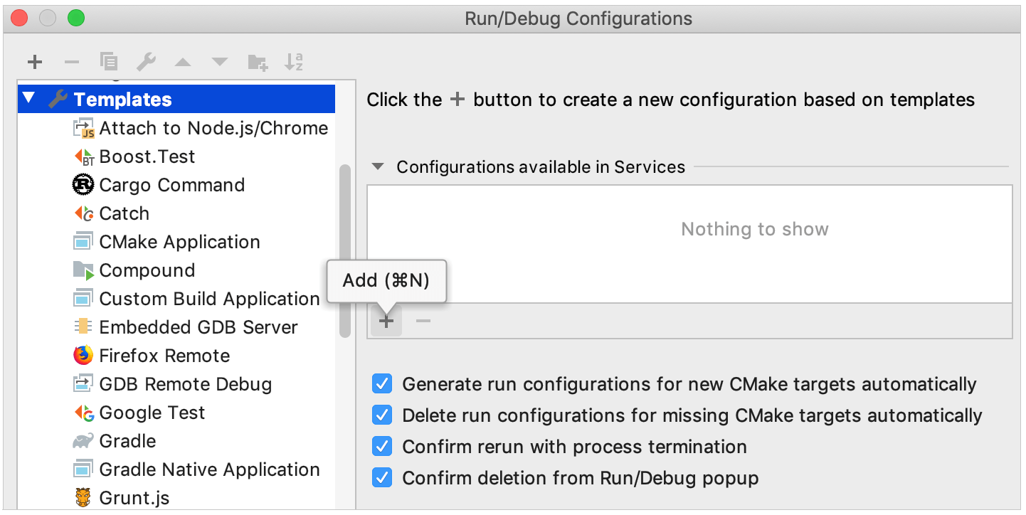 adding configurations to Sevices