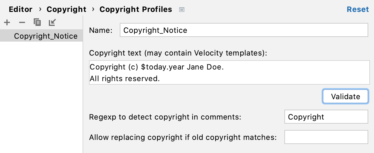 Creating a new copyright profile