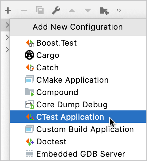 Adding a CTest Application configuration