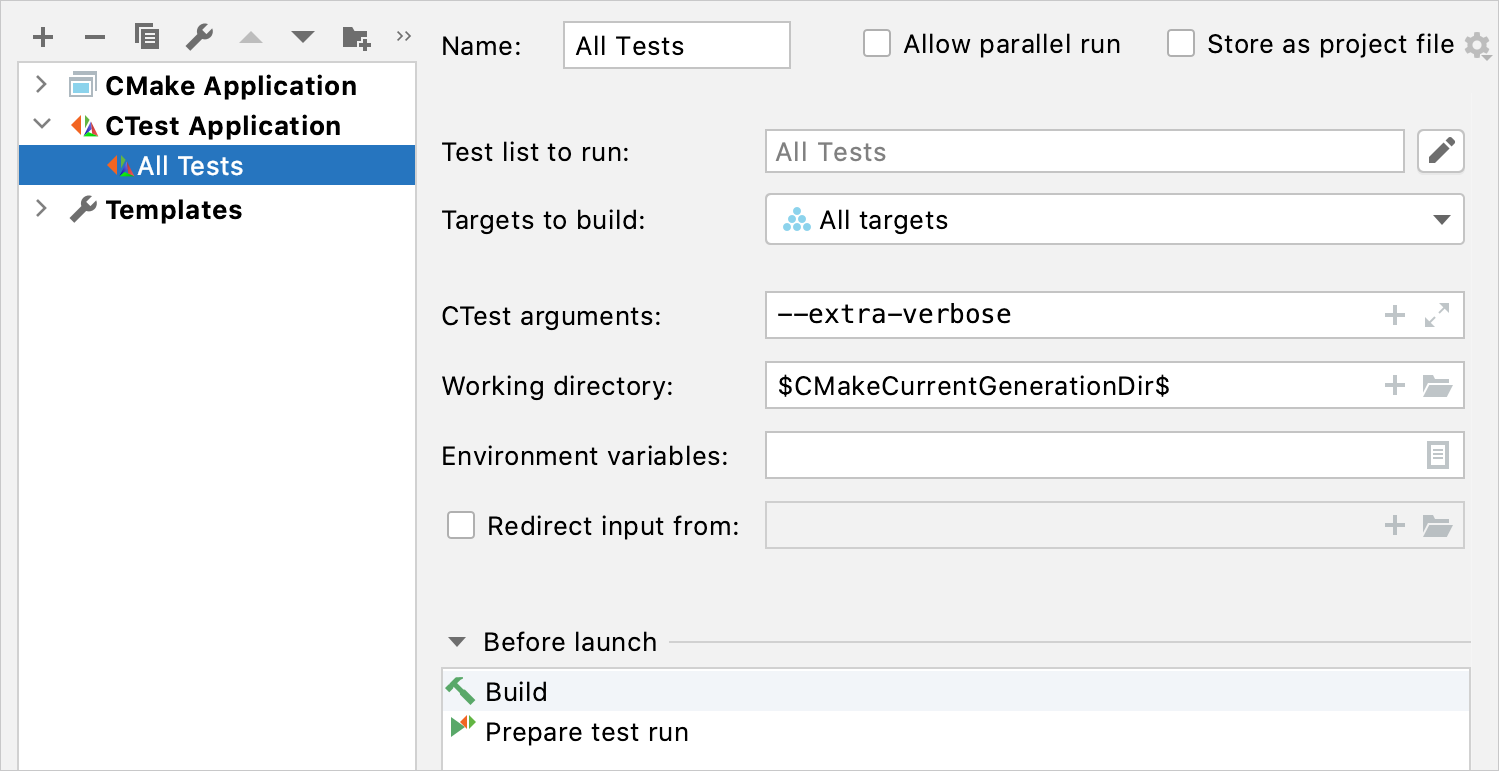 The automatically created configuration for CTests