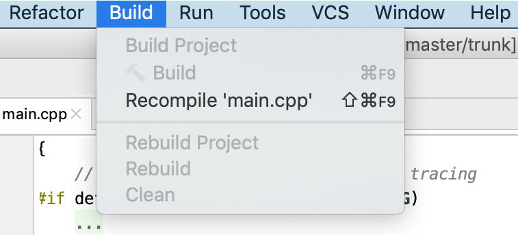 empty build menu for compdb projects