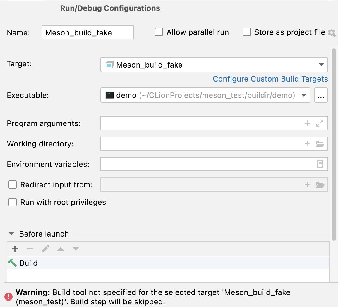 Custom run/debug configuration