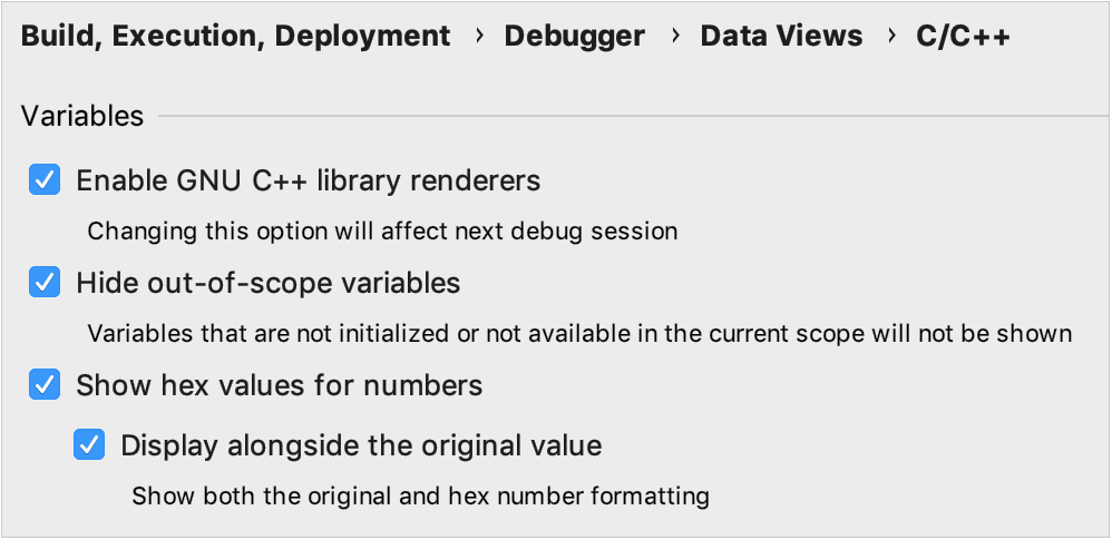 C/C++ debugger data views settings