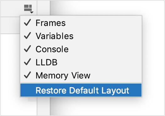 Restore Default Layout menu item