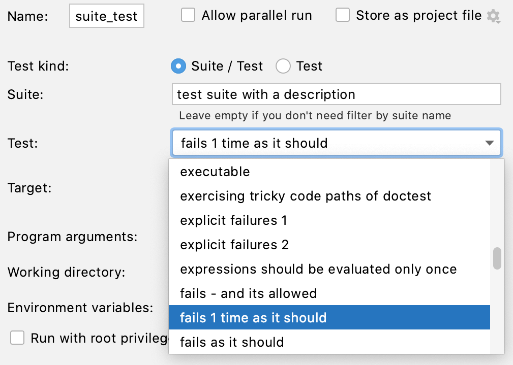 Selecting a test from a suite