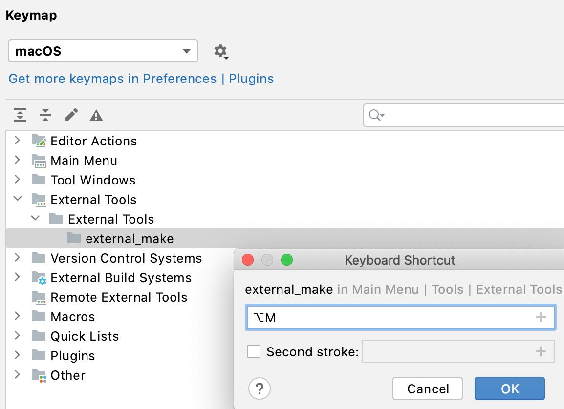 Assigning a shortcut for an external tool