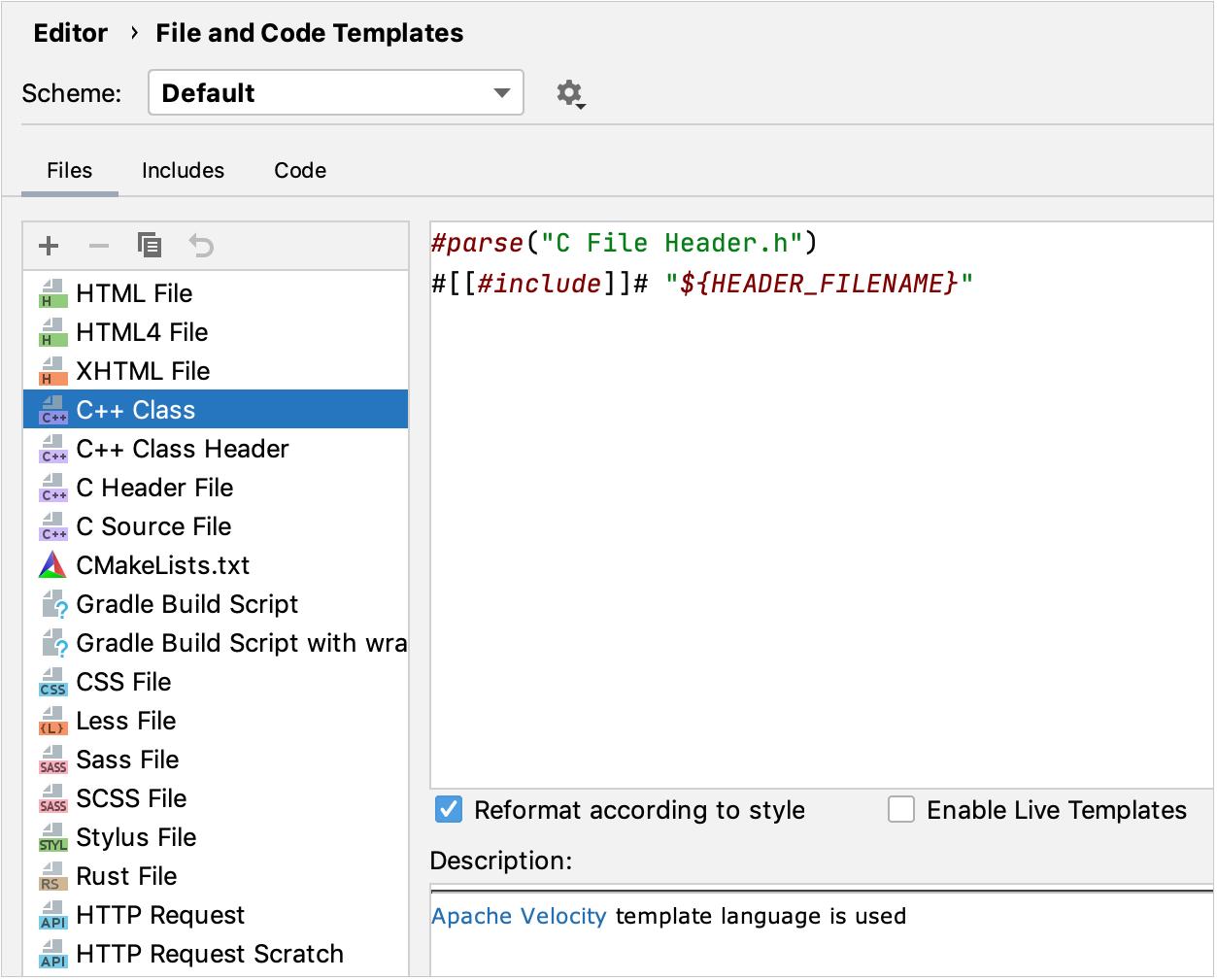 File templates settings
