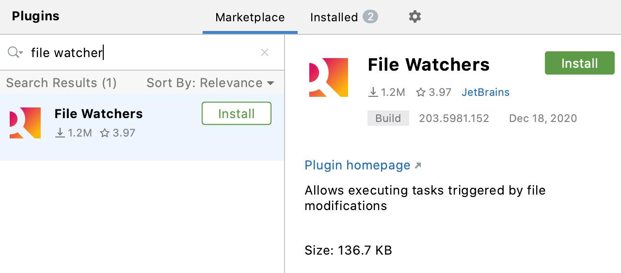 Installing the File Watchers plugin