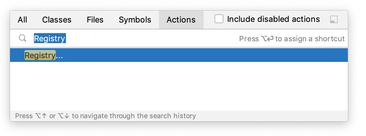 Searching for Registry in Find Action