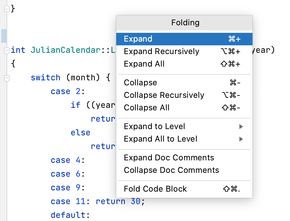 Folding actions popup
