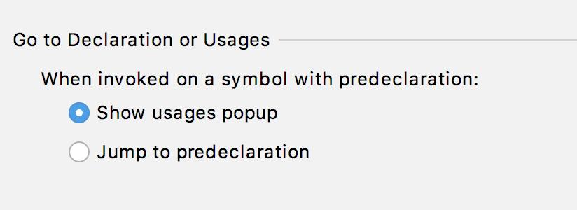 Go to Declaration or Usages behavior