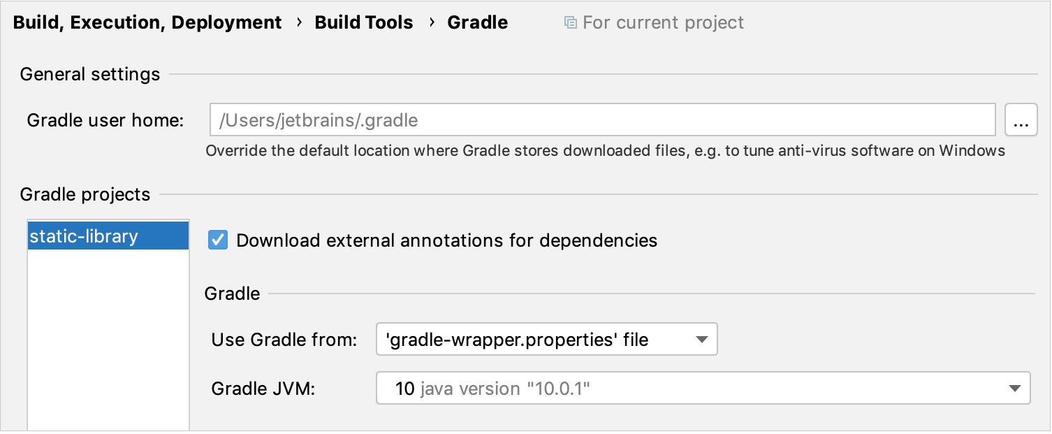 Gradle project settings