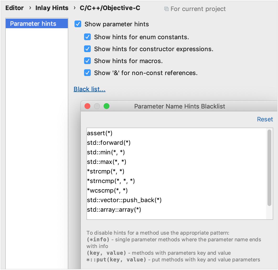 parameter hints settings