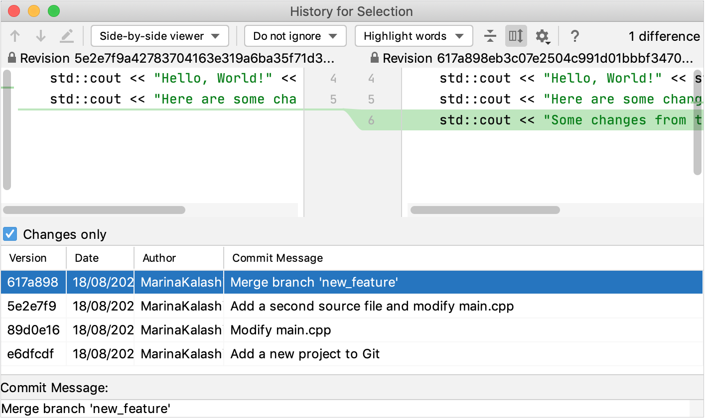 Git history for selection