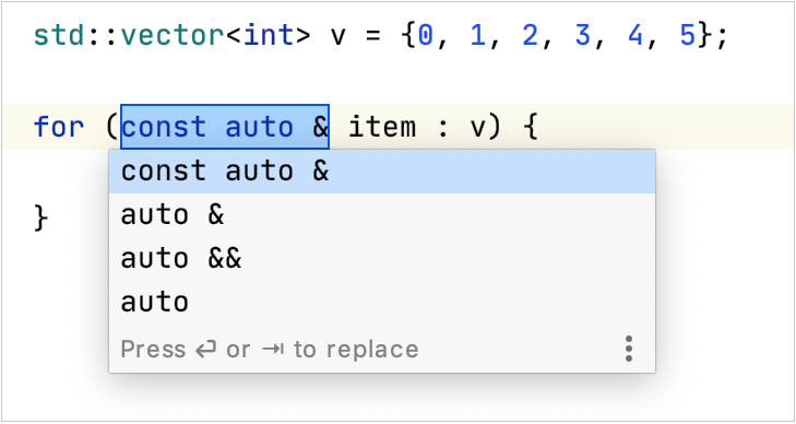 Auto type deduction for a loop interator