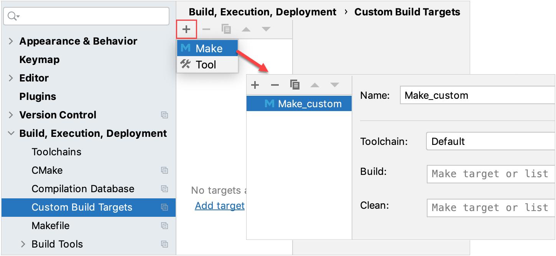 Custom targets for Makefile Application configurations