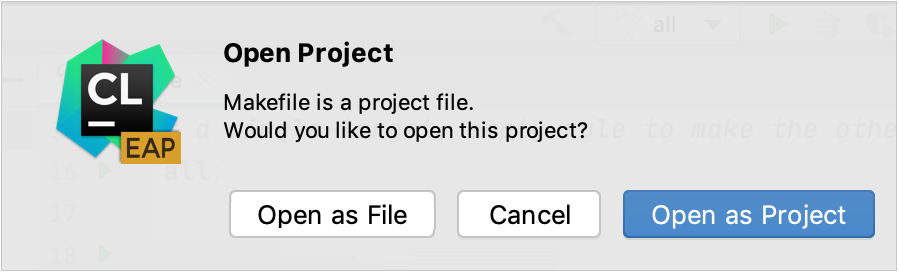 Opening a Makefile as a project
