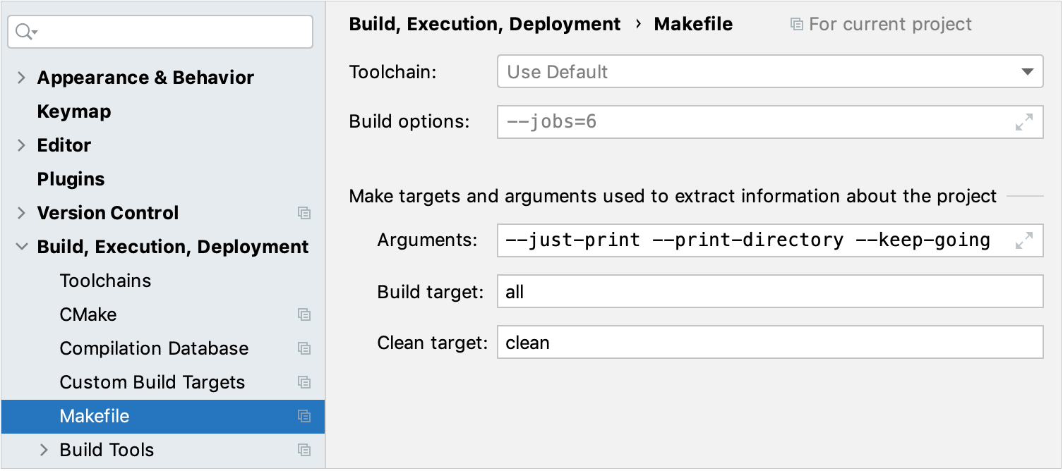 Makefile settings