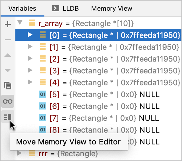 Move memory view to editor