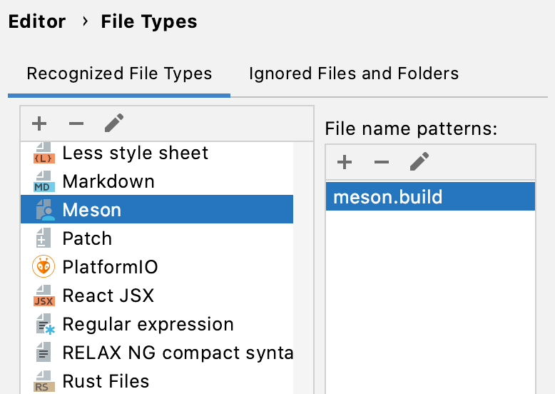 Registering the Meson file type