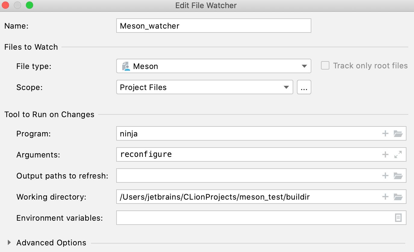 File watcher settings