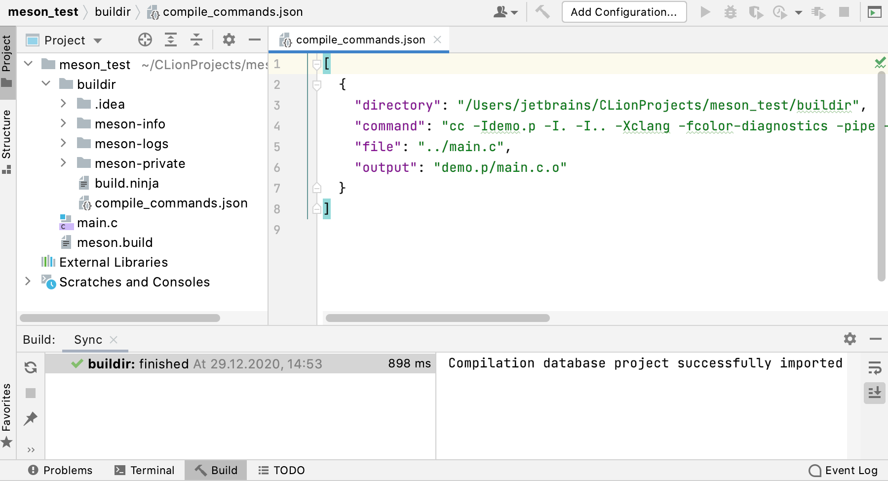 Loading a Meson project via compilation database