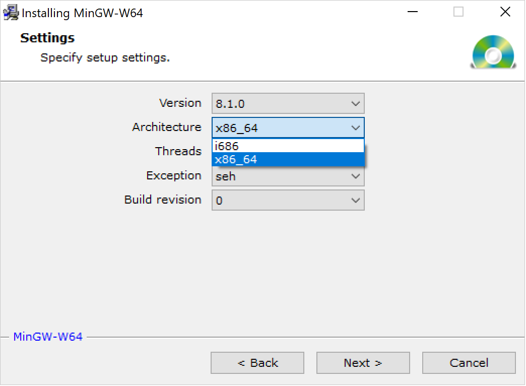 Selecting the 64-bit architecture for MinGW