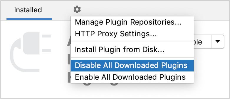 Disable all downloaded plugins