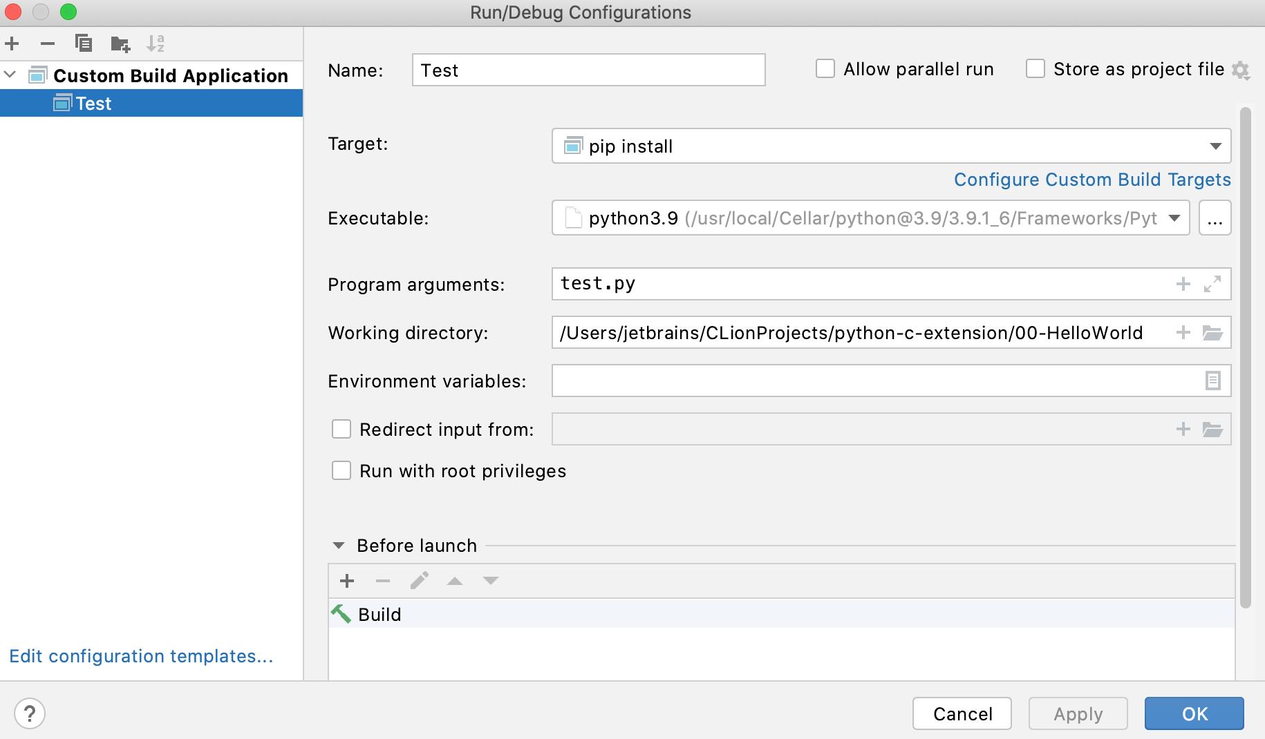 Custom Build Application