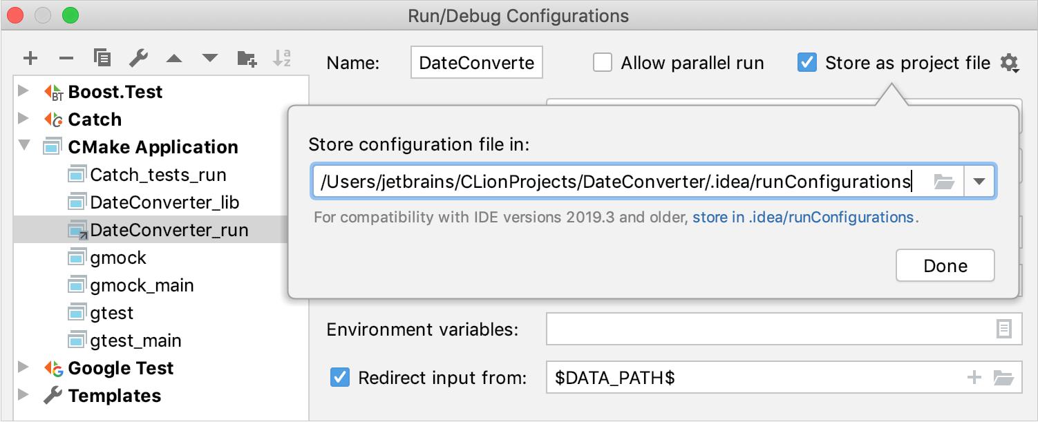 Saving a configuration into a file