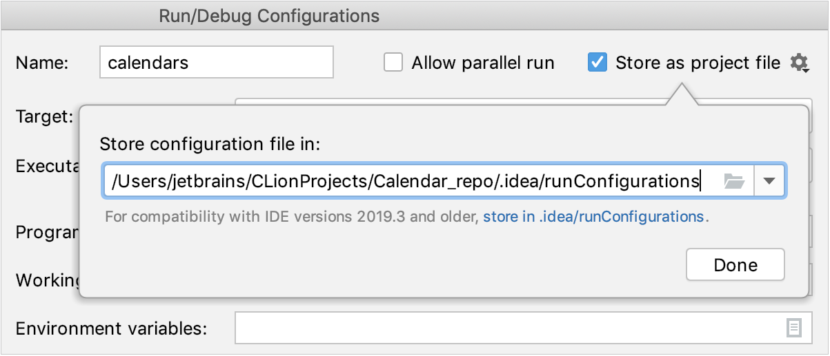 Store as project file box