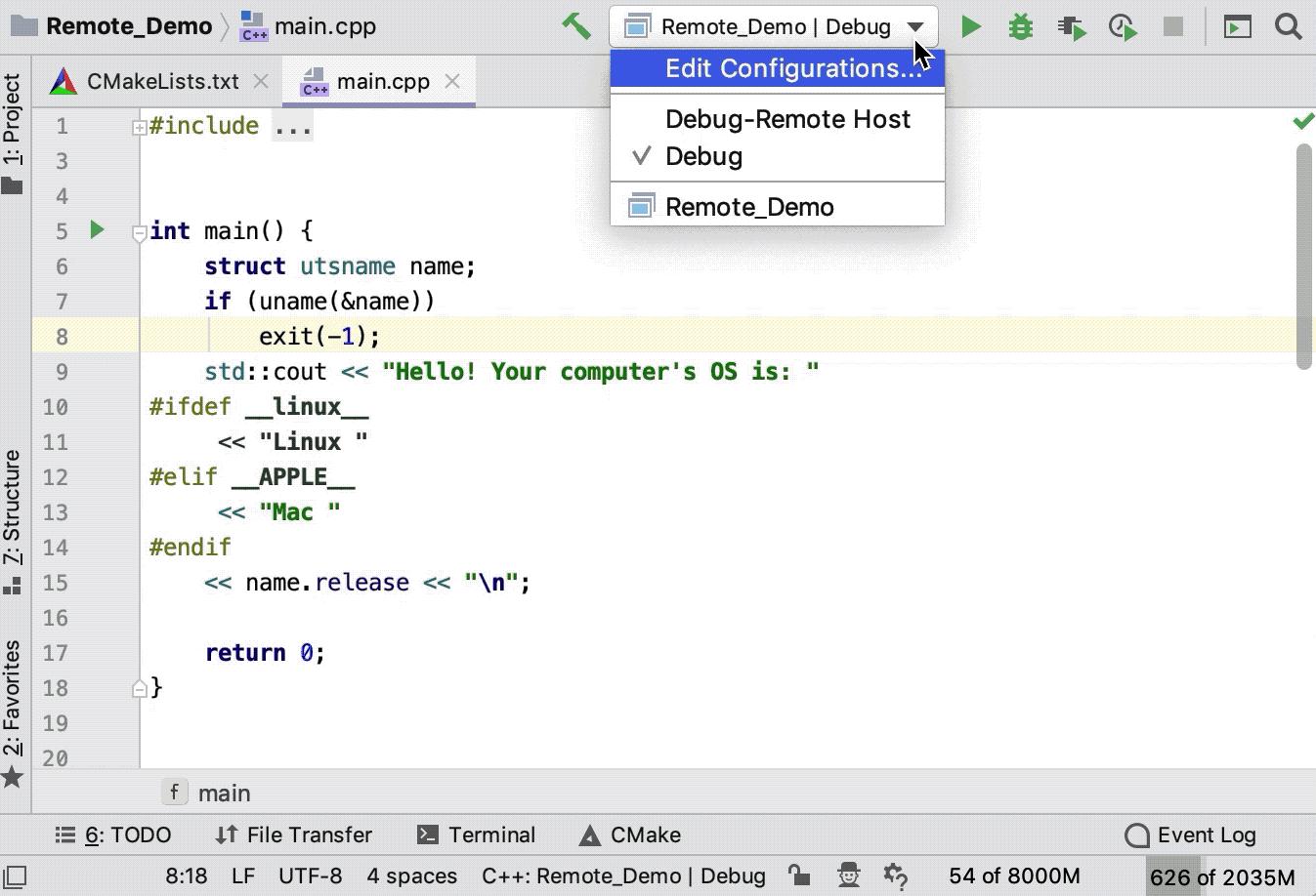 choose build configuration for remote run