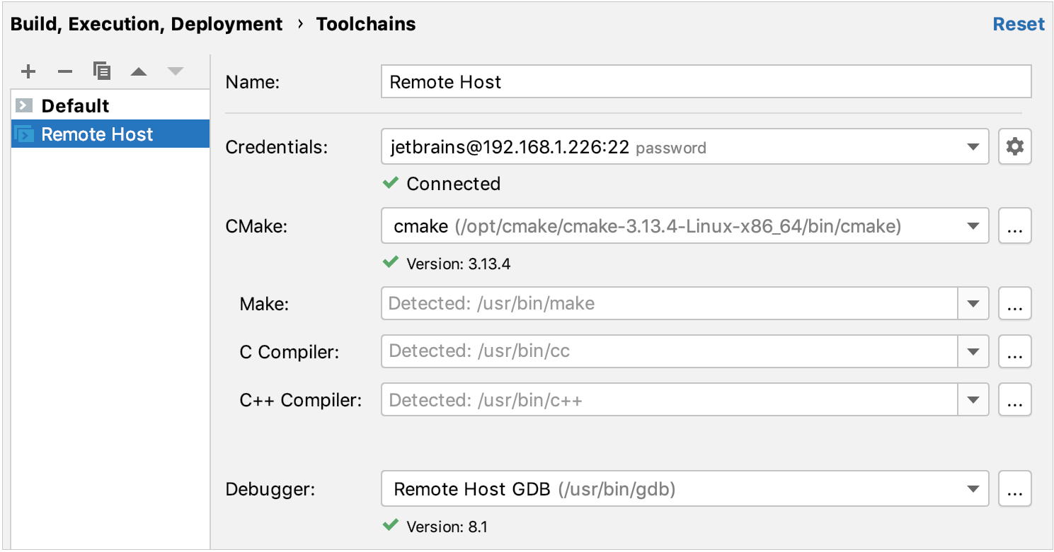 remote toolchain configured successfully