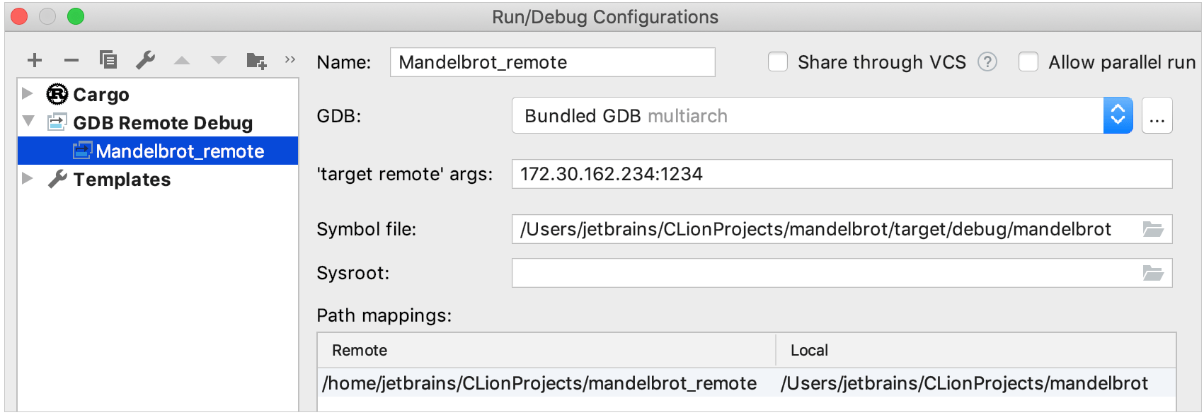 GDB remote debug configuration for a Rust project