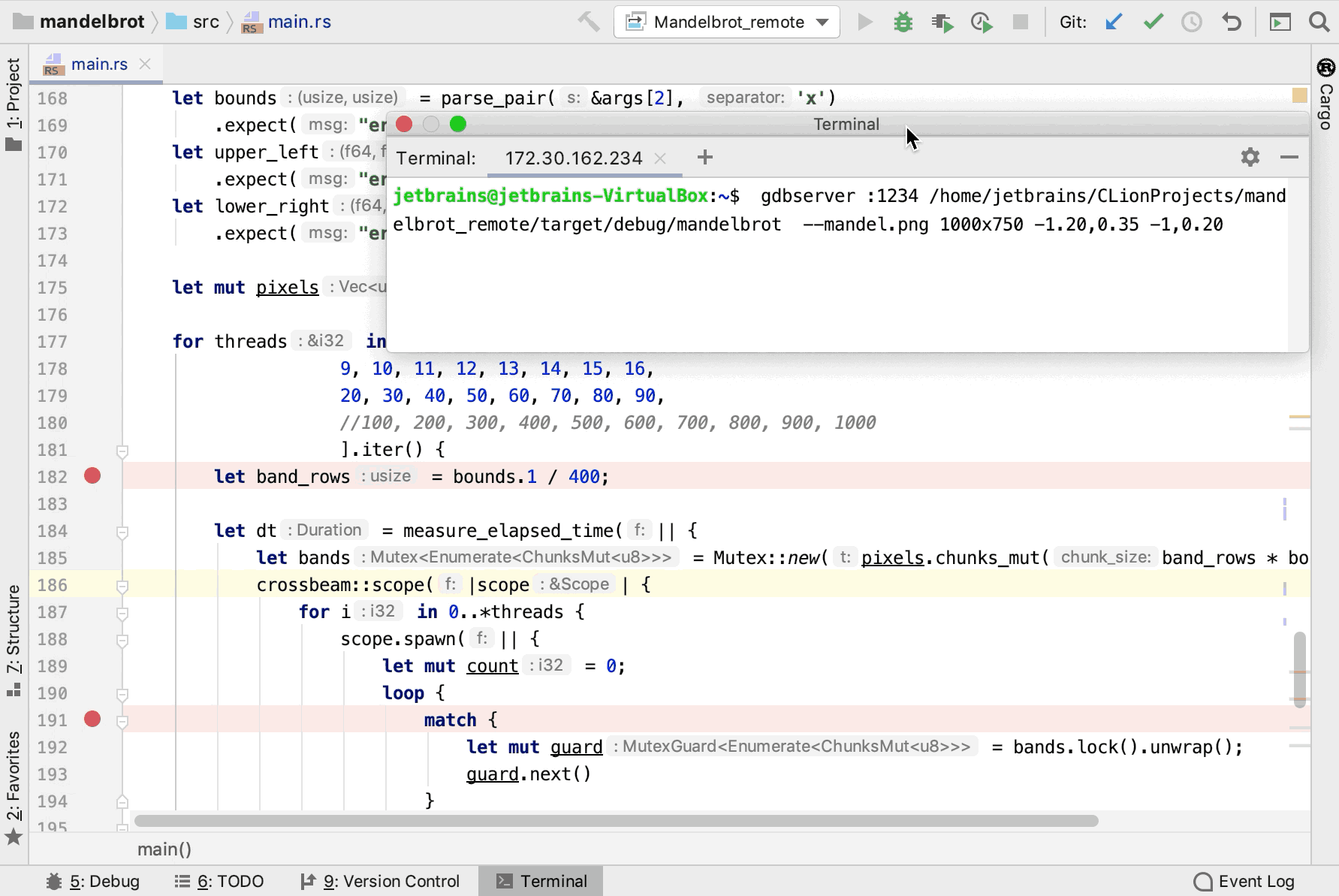 debugging a Rust program remotely