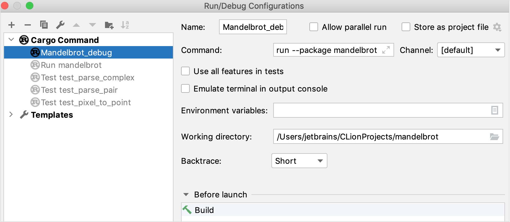 Cargo run/debug configuration