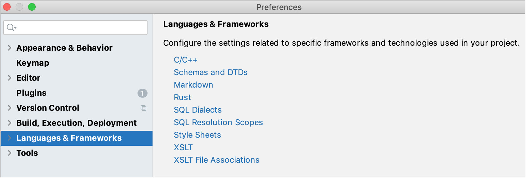 Languages and Frameworks