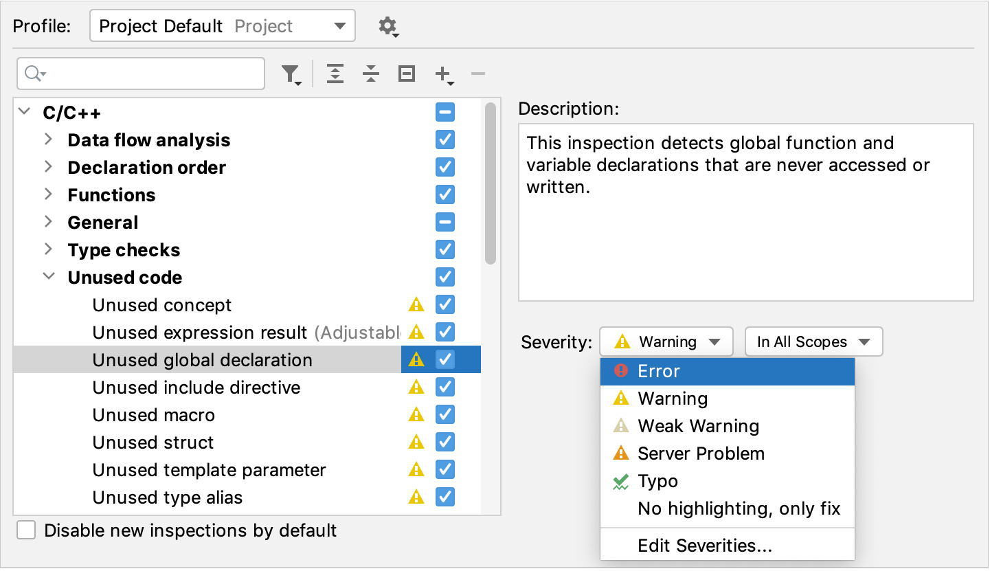 Severity selector in the inspections settings