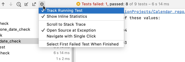 Test runner toolbar options