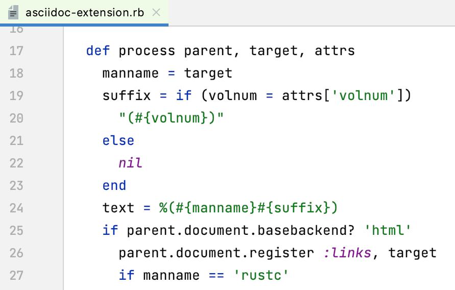 Ruby syntax highlighting