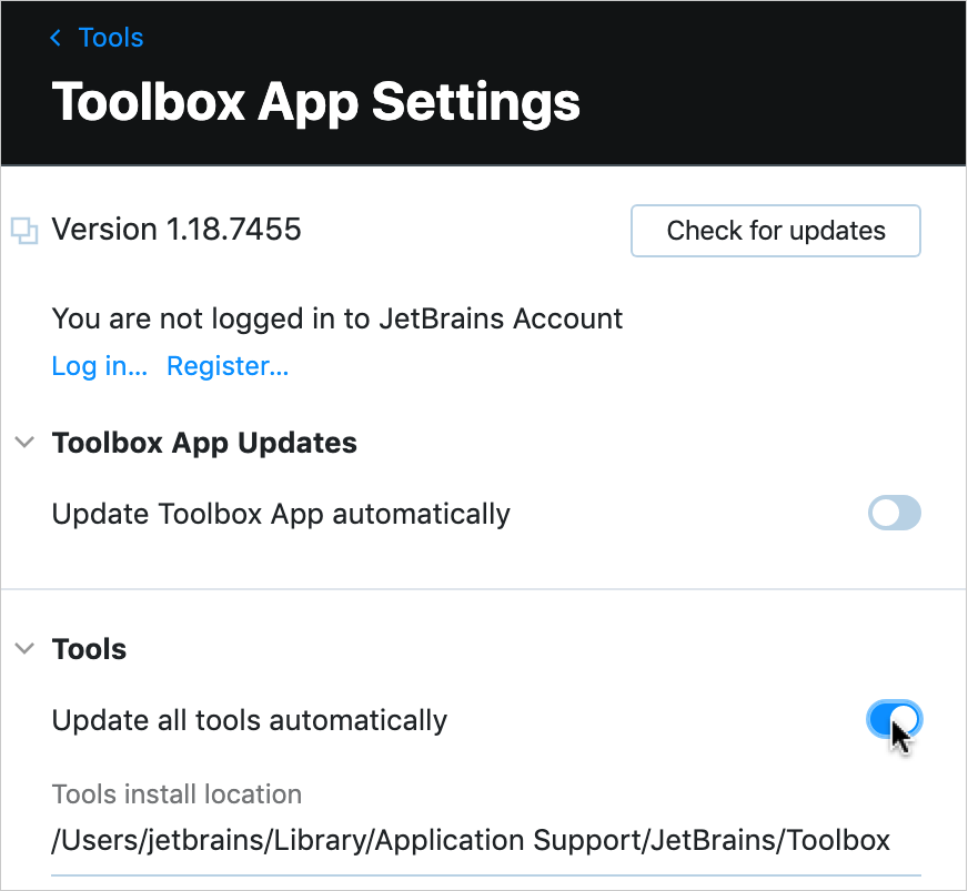 Toolbox App: the option to update all tools automatically