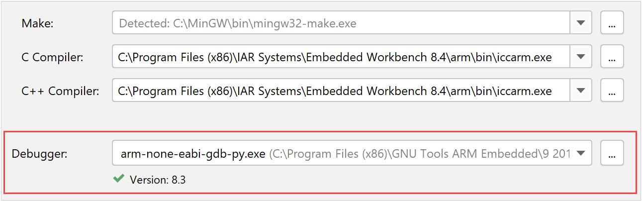GDB debugger for the IAR toolchain