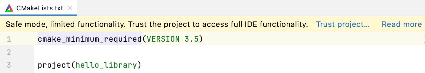 Cl trust cmake editor notification
