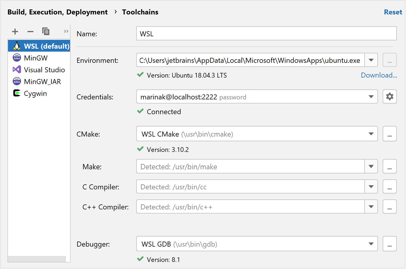 WSL toolchain