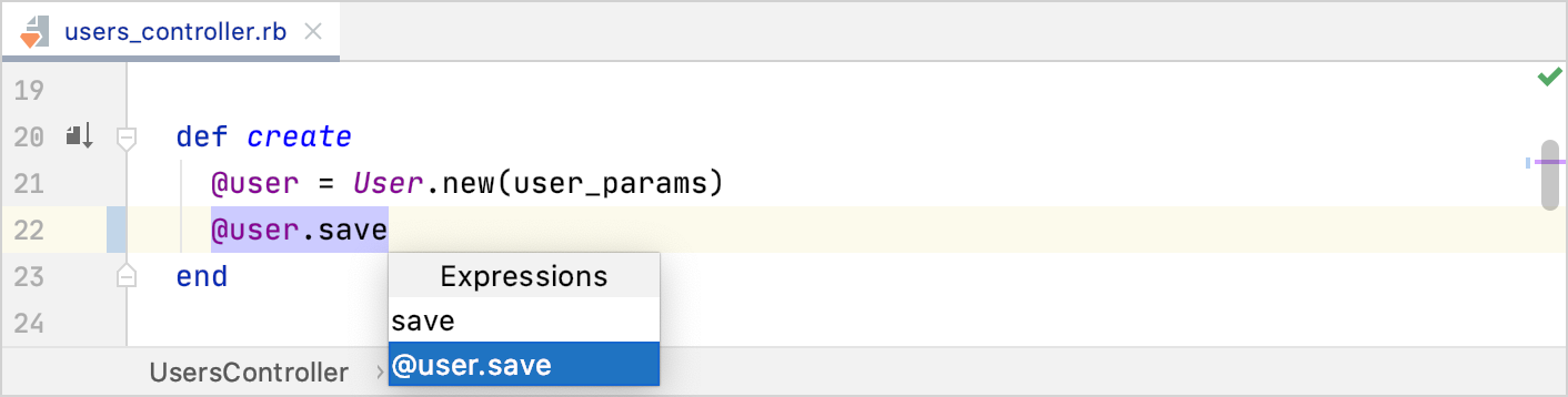 Postfix completion expression